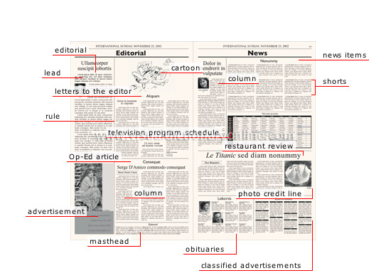 newspaper front page layout terminology A closer look at the differences between broadsheets, the most common newspaper format associated with upscale readership, and tabloid newspapers.