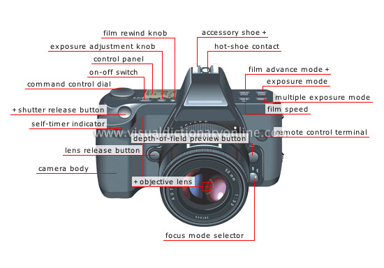 single-lens reflex (SLR) camera: front view - Visual Dictionary Online