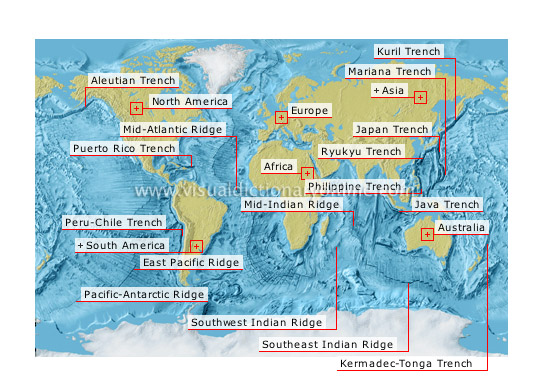 EARTH :: GEOLOGY :: OCEAN TRENCHES AND RIDGES image - Visual ...