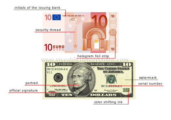 banknote: front - Visual Dictionary Online
